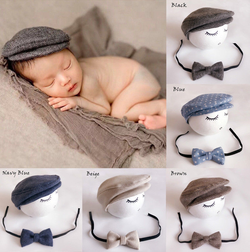 Cute Peaked Cap Newborn Baby Beanie Hat + Bow Tie Photo Photography Prop Baby Boys Girls Bear Caps peaked cap women men summer spring out doors caps women letter solid adult sport cap hat peaked couples outdoor cap
