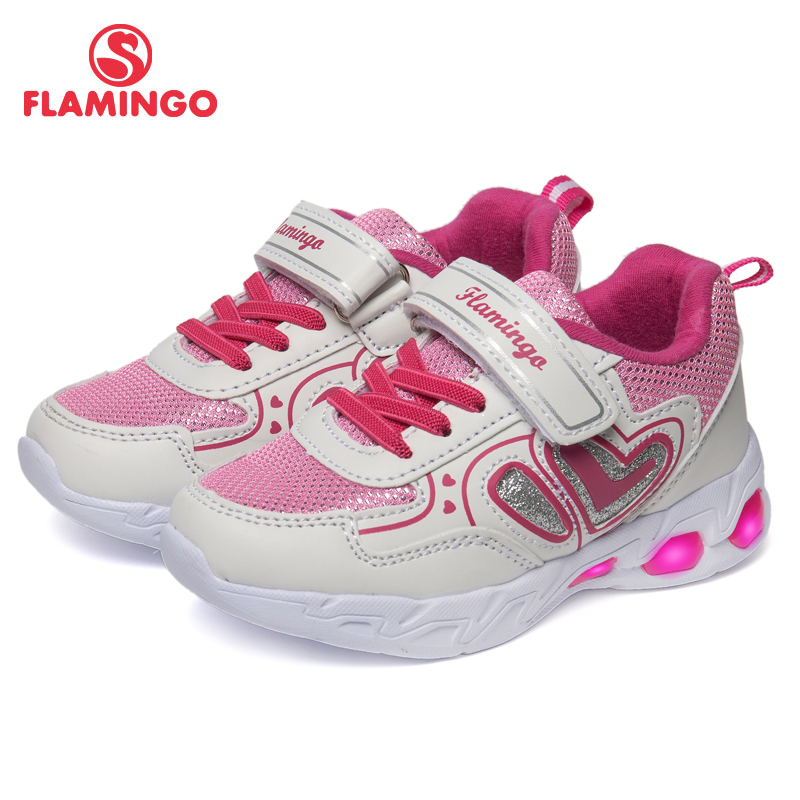 FLAMINGO Light Weight Sneakers Arch Spring&Summer Breathable LED Leather Hook& Loop Size 23-29 Kids Sneaker for Girl 91K-KS-1232 flamingo print spring genuine leather breathable hook