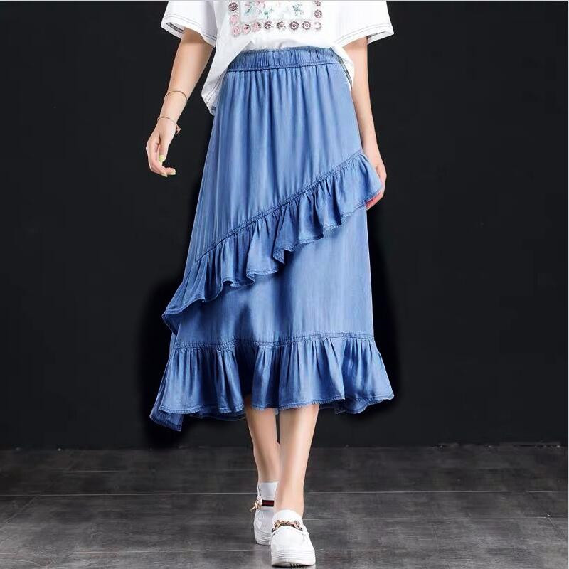 Elastic Waist Summer Women Denim Skirts Ruffles Ladies Solid Color Holiday Skirts Girl Jeans Skirts Plus Size M-7XL