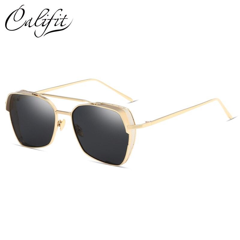 CALIFIT Black Pilot Sunglasses Women Vintage Brand Designer Gold Metal Frame Retro Oversize Sun Glasses For Men Unisex Oculos