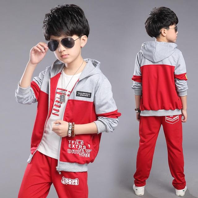 2016 Nuevo sistema de la ropa Para 4 5 6 7 8 9 10 11 12 13 yesrs chicos abrigo de Otoño de algodón outwear + pantalones niños deportes traje ropa de niño conjuntos