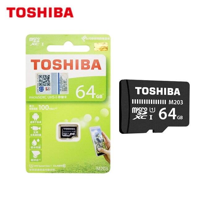 100% Original TOSHIBA tarjeta de memoria M203 16GB 32GB SDHC de alta velocidad 100 MB/S 64GB tarjeta Micro SD de 128GB de U1 A1 UHS-I TF tarjeta Microsd