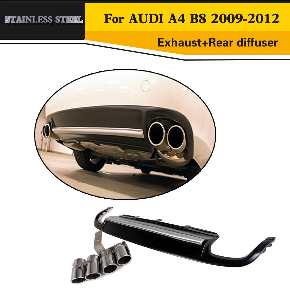 PU Auto Car styling Rear Bumper Diffuer With Steel Exhaust Tip For Audi A4 B8 Standard bumper 2009-2012