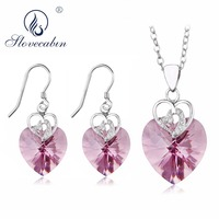 Slovecabin 925 Sterling Silver Jewellery 2018 Pink Crystal pendientes Necklace Earring Ensemble Bijoux Wedding Jewelry Sets