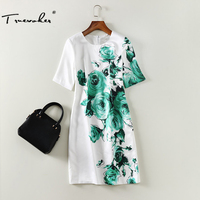 Truevoker מעצב שרוול קצר השמלה של נשים באיכות גבוהה ירוק מודפס נובל לבן Vestido שמלת עיפרון בתוספת גודל 2XL