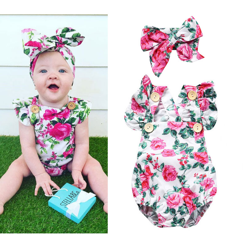 Summer Baby Bodysuit Sleeveless Green Flower And Headwear Body For Newborn Floral Baby Girl Sunsuit Cute Baby Onesies