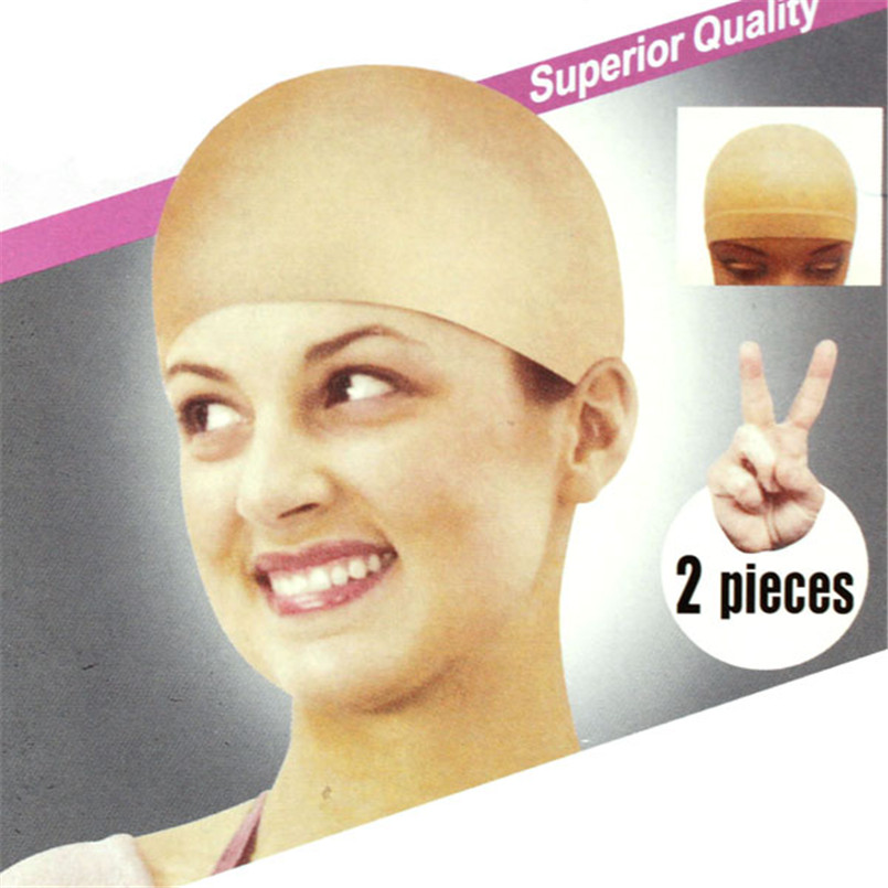 2pcs Unisex Nylon Bald Wig Hair Cap Stocking Liner Snood Mesh Stretch Nude Beige X7075Down
