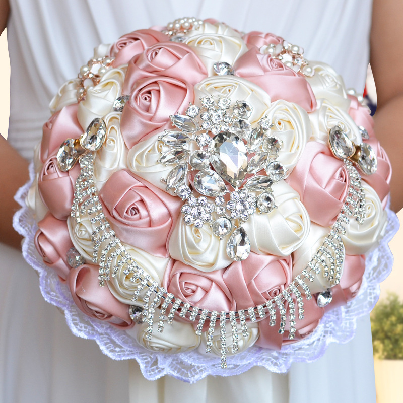 Best Selling Ivory Rose Pink Brooch Bouquet Wedding