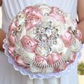 Best Selling Ivory Rose Pink Brooch Bouquet Wedding Bouquet de mariage Polyester Wedding Bouquets Pearl Flowers buque de noiva