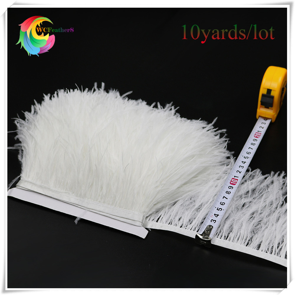 WCFeatherS 10 yards bleached white ostrich feather trims fringe width 10 15cm DIY feathers for dress