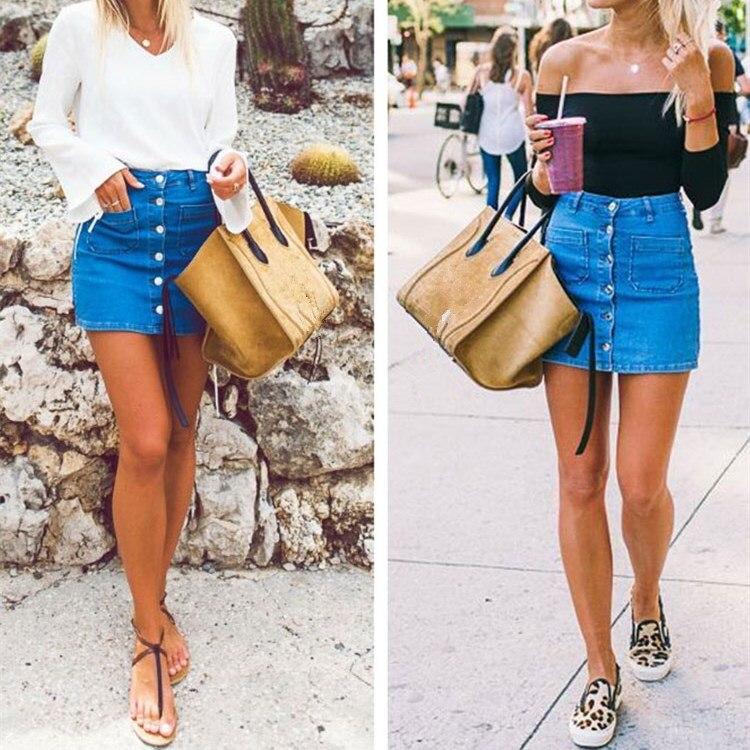 2018 Summer Women Button High Waist Blue Jeans Skirt Empire Slim Sexy Denim Streetwear Skirt