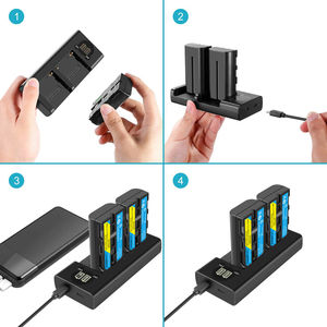 Image 3 - Bateria de câmera + carregador sony, 3200mah, NP F550 NP F330, np, f550, np f330, lcd, dual usb, para sony NP F550 NP 750 yongnuo luzes da câmera