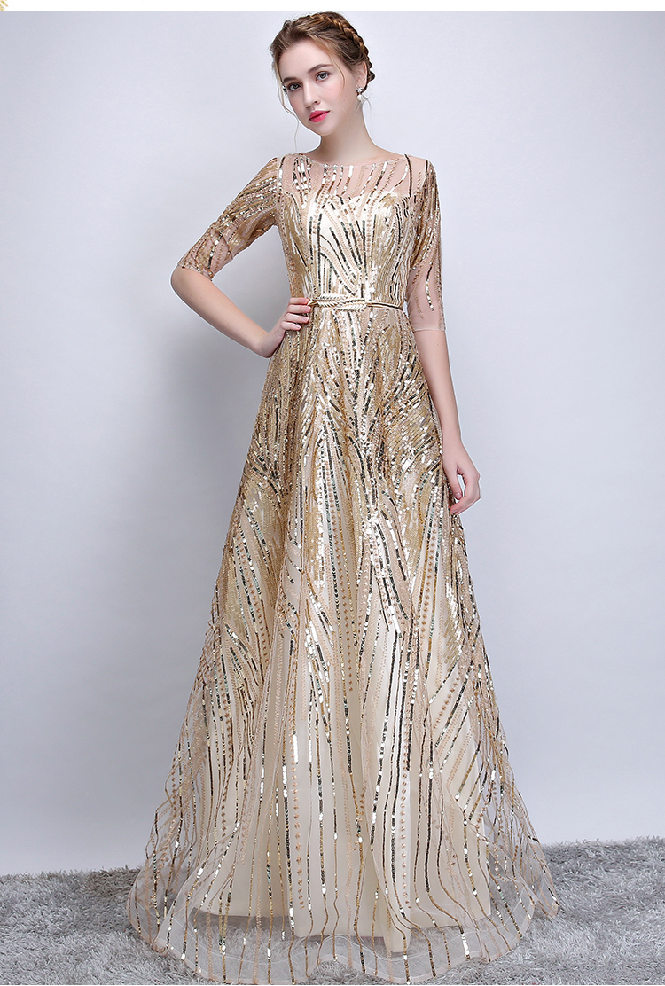 ec2d02fc5729b Luxury Champagne Banquet Dresses Prom Sequined Long Evening Gowns Hollow  out Stunning Women Pageant Dress for Wedding G239-in Dresses from Women's  ...