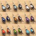 2.6 cm   Silver Plated Rainbow Moonstone & Other Gems  OXIDIZED Earrings Jewelry Set