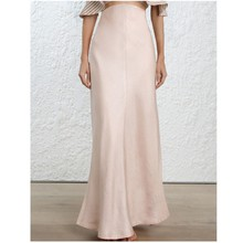 Pure Pearl Pink Mermaid Long Satin Skirts For Women To Party High Waist Style Zi