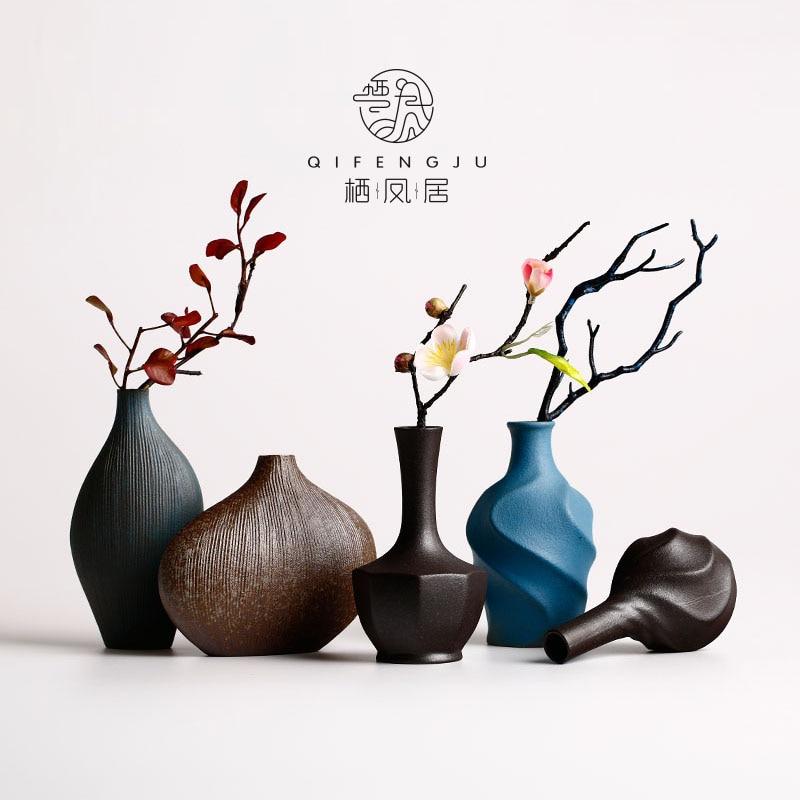 Vase de poterie grossière vase fleur de chinois Zen rétro poterie porcelaine vase petits ornements