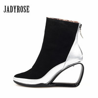 Jady Rose 2018 Winter Warm Boot Ankle Boots For Women Strange High Heel Wedge Shoes Woman