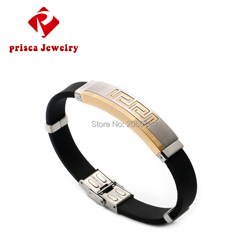 Men Bracelet Charms Fashion Jewelry Silicone Wristband Gold Chain Link Silver Jewelry Magnetic Steel Bangle Titanium Jewelry цена