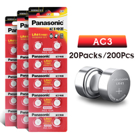 200pcs/lot Panasonic LR41 Button Cell Battery SR41 AG3 G3A L736 192 392A Zn/MnO2 1.5V Lithium Coin Batteries LR 41