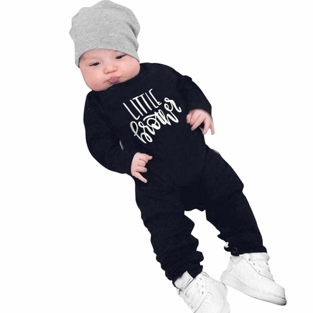 8a47f23647f baby clothes Newborn Infant Baby Boys Girls Long Sleeve Letter Print baby  rompers Jumpsuit Outfits dropshipping