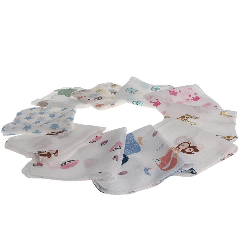 Soft 28*28cm 10Pcs Baby Infant Towel Muslin Towel Handkerchiefs Two Layers Wipe Towel