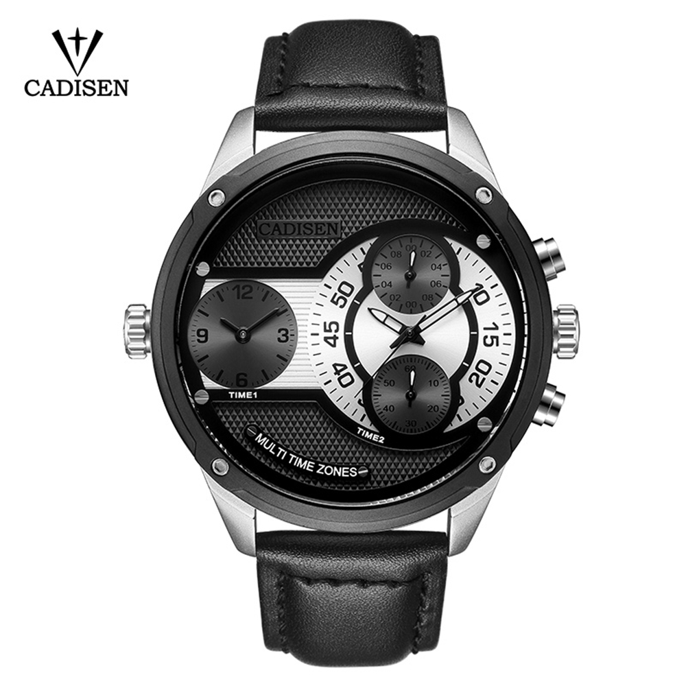 CADISEN Original Quartz Men Watch Big Dial Leather Sport Military Watches Men Double time zone Wristwatch Relogio Masculino 2018 bewell natural wood watch men quartz watches dual time zone wooden wristwatch rectangle dial relogio led digital watch box 021c