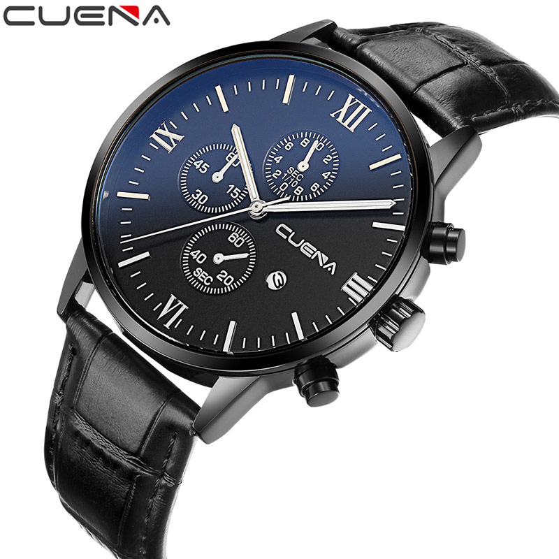 CUENA Fashion Men Quartz Watch Genuine Leather Calendar Wristwatches Clocks 30M Waterproof Relogio Masculino Mens Watches 6612 cjiaba y59 men s fashionable pu band self winding mechanical wrist watch black silver