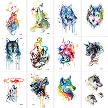 TCOOL 12 pcs / lot Wolf Temporary Tattoo Sticker for Women Mænd Fashion Body Art Voksne Vandtæt Hånd Falsk Tatoo 9.8X6cm W12-12