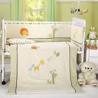 7 шт., Комплект детских хлопковых детская кроватка комплекты, одежда для мальчиков и девочек, бежево синий, одеяло, лист, бампер