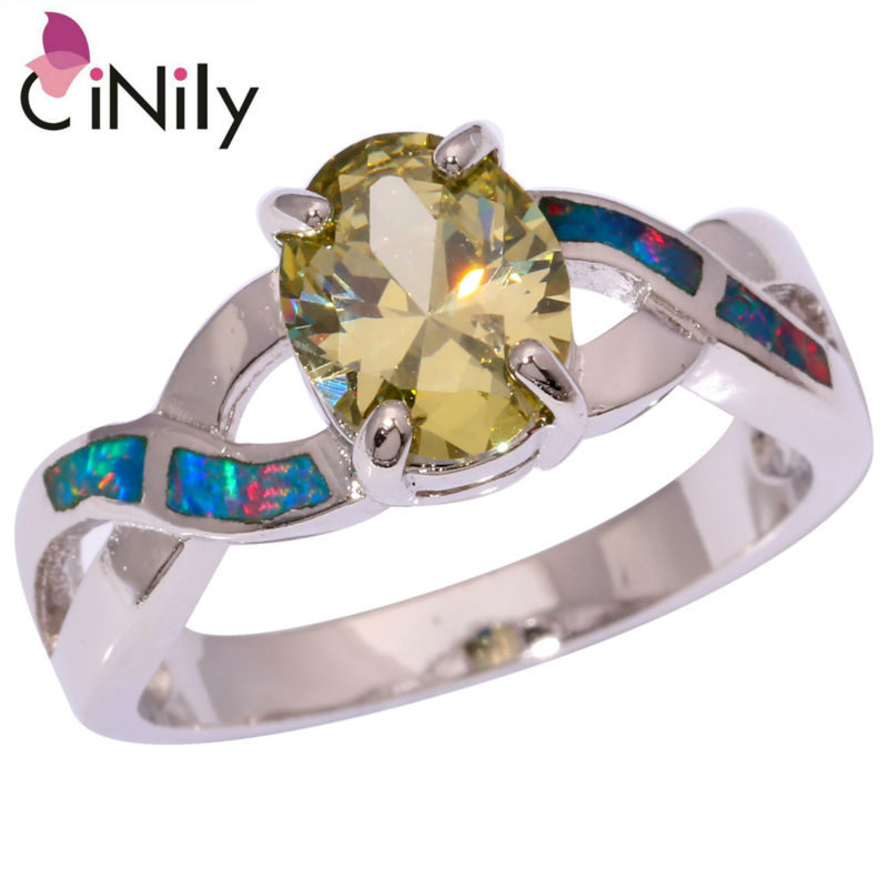 Created Rainbow Fire Opal Peridot Silver Plated Ring Wholesale Retail Fashion Wedding for Women Jewelry Ring Size 7 8 OJ8927