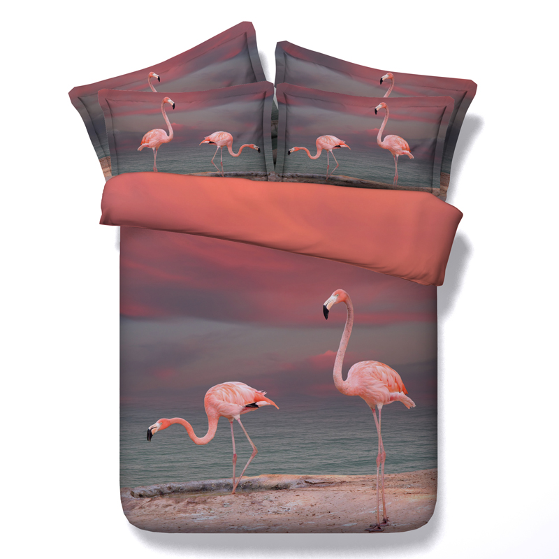 design bird bed linens 3d crane sun set duvet quilt cover girls queen twin bedding sets 3/4pc full king sizes 500tc coverlets