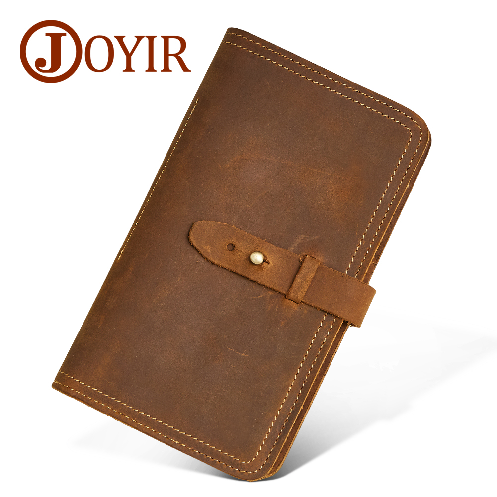 JOYIR Genuine Leather Men Wallet Credit Card Holder Passport Holder Clasp Coin Purse Designer Men Wallets Clutch for Male