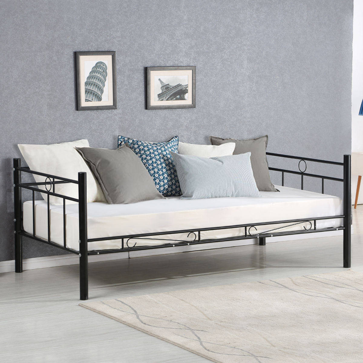 Giantex Twin Size Daybed Sofa Bed Bedroom Modern Metal Steel Bed Frame  Solid Support Guest Dorm Home Furniture HW56068+