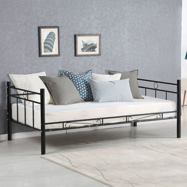 Giantex Twin Size Daybed Sofa Bed Bedroom Modern Metal Steel Frame Solid Support Guest Dorm