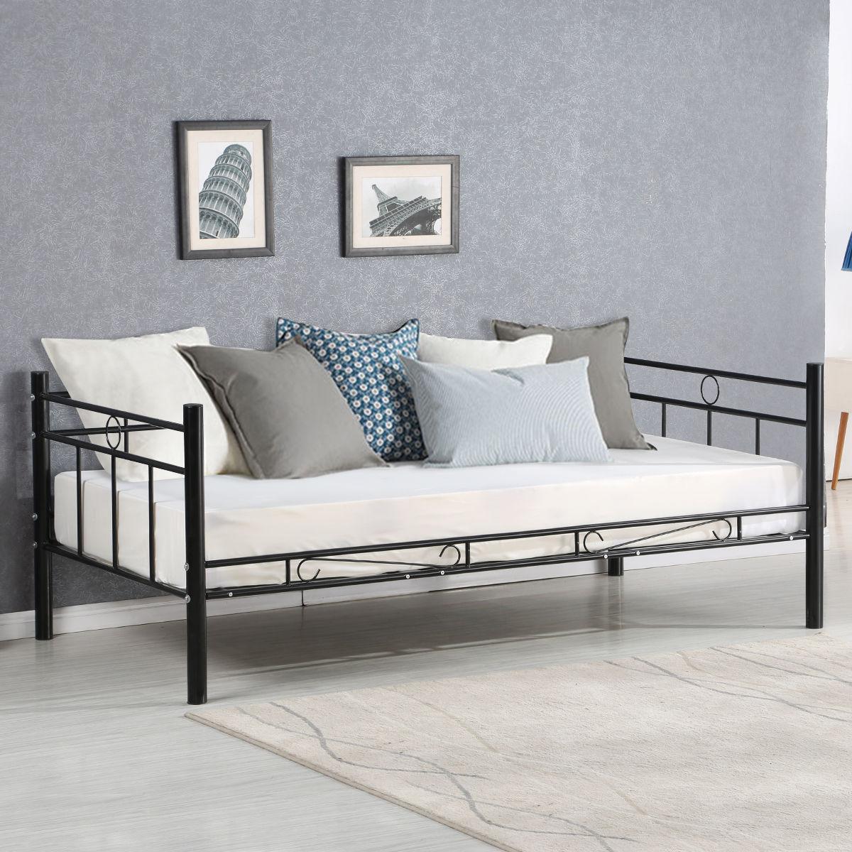 Giantex tamaño doble Daybed sofá cama dormitorio moderno del Metal ...