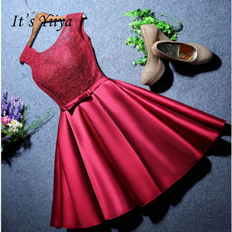 It's YiiYa Fashion O-Neck   Prom     Dresses   Vintage Embroided   Dress   Red Sleeveless Frock LX112