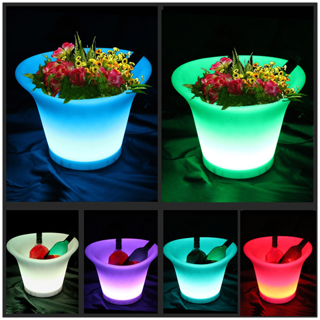 SK LF08 L38 W32 H28cm 16 Color Change LED Flower Pot iluminouse Planter with 1000mah Li battery with Remote Free Shipping 1pc in Flower Pots Planters from Home Garden