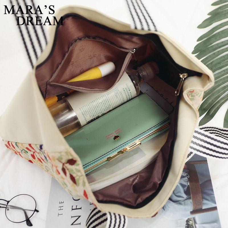 Mara's Dream Women Bag Women's Canvas Handbag Embroidery Owl Tote Lady Shopping Bag Shoulder Bags 2018 Summer Holiday Beach Bags 5