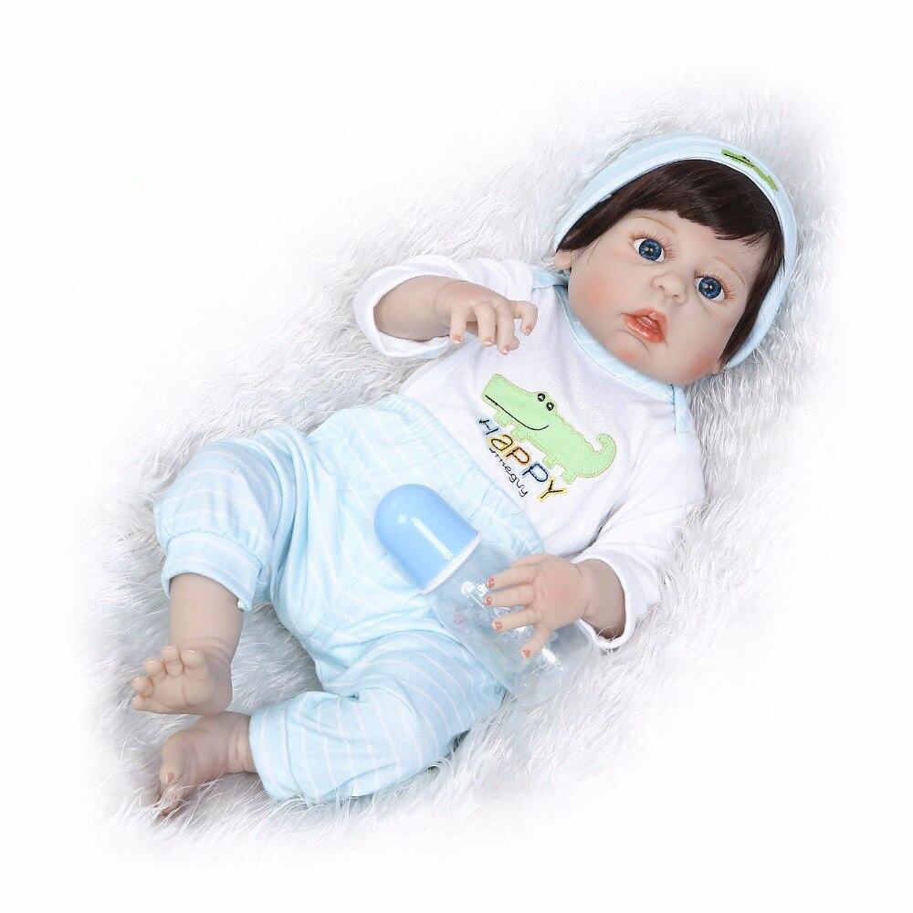 "55cm Full Silicone Bebe Reborn Baby 22"" Girl Boy Dolls Lifelike Newborn Babies Alive Doll For Child Bath Shower Bedtime Toy"