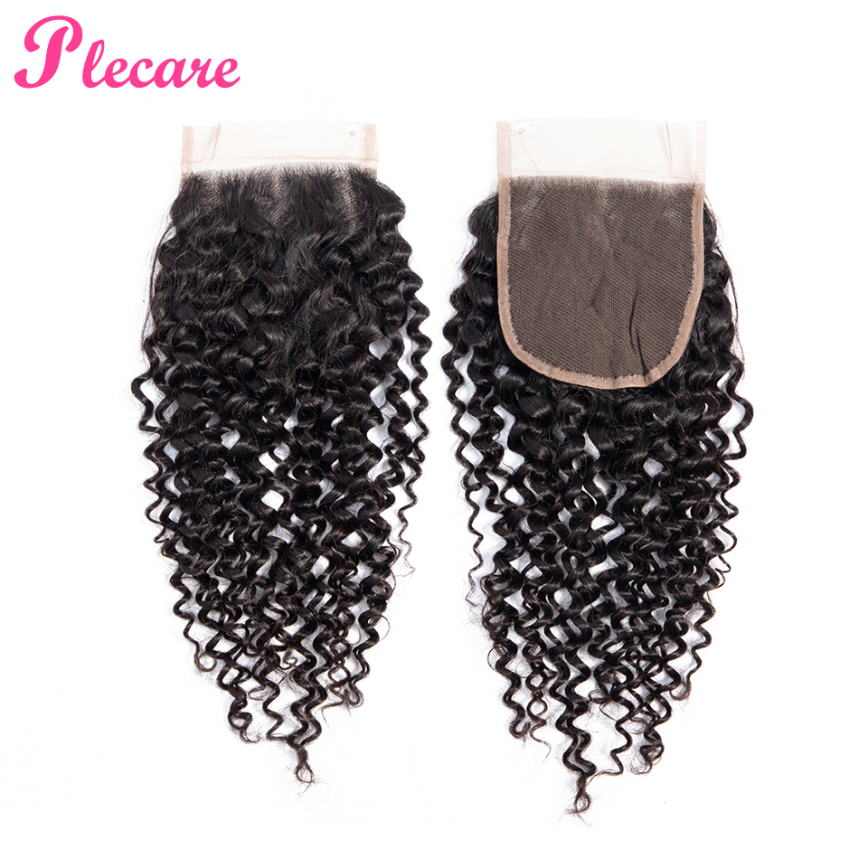 Plecare Brazilian Kinky Curly 4*4 Lace Frontal Closure Hair 1 Pcs Natural Color 8-20 Inch Non-remy 100% Human Hair Extensions