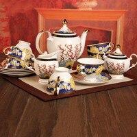 CERAM Tarde jogo de chá xícara e pires osso moda china xícara de café jogo de chá de luxo TOP 15 PCS
