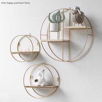 Drewniane złote półeczki na drobiazgi dekoracje wiszące schowek doniczka dom regał ścienny książka figurki wyświetlacz rzemiosło półki tanie i dobre opinie Nowoczesne Metal Do Montażu Na Ścianie