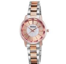 Skone япония кварцевые роскошные женщины смотреть женский нержавеющей стали мода наручные часы lady повседневная 9153