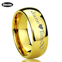 Free Shipping Customized Tungsten Carbide Wedding Band Engraving Outside Inside Tungsten Promise Ring Engagement Ring