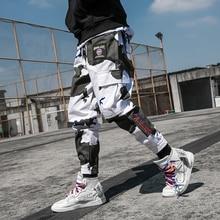 2019 High Street Casual Cargo Pants Hip Hop Harem Male Trousers Joggers Side Pockets Fashion Full Length