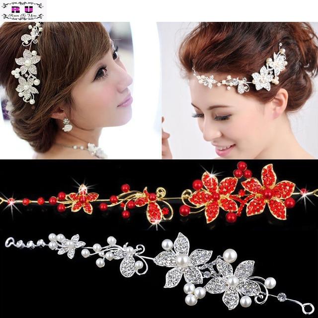 43c00a0a755 Ladies Silver Rhinestone Bridal Wedding Flower Pearls Headband Hair Clip  Comb