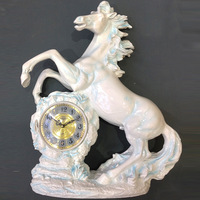 TUDA Free Shipping 12 inch Large Table Clock European Retro Style Horse Carved Resin Table Clock High Grade Mute Quartz Clock