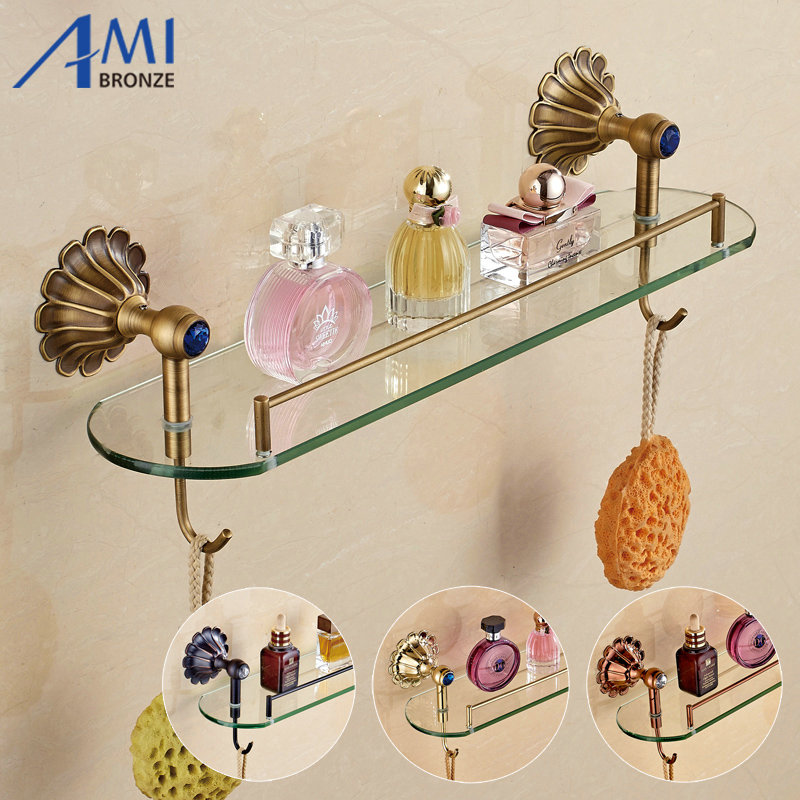 12-Petals Series Antique/Gold/Black/Rose Brass Bathroom Shelves Towel Holder Towel Bar&Hook With Glass Dressing Shelf bathroom antique brass shelf rectangle double layer multifunction storage shelves with towel bar and hook