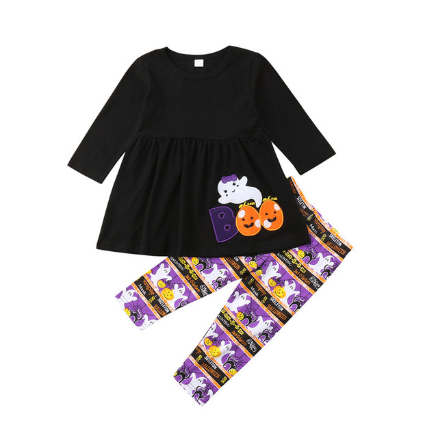 5d58449a3d12 Printed Halloween Kids Baby Girls Clothes Spring Autumn Children ...