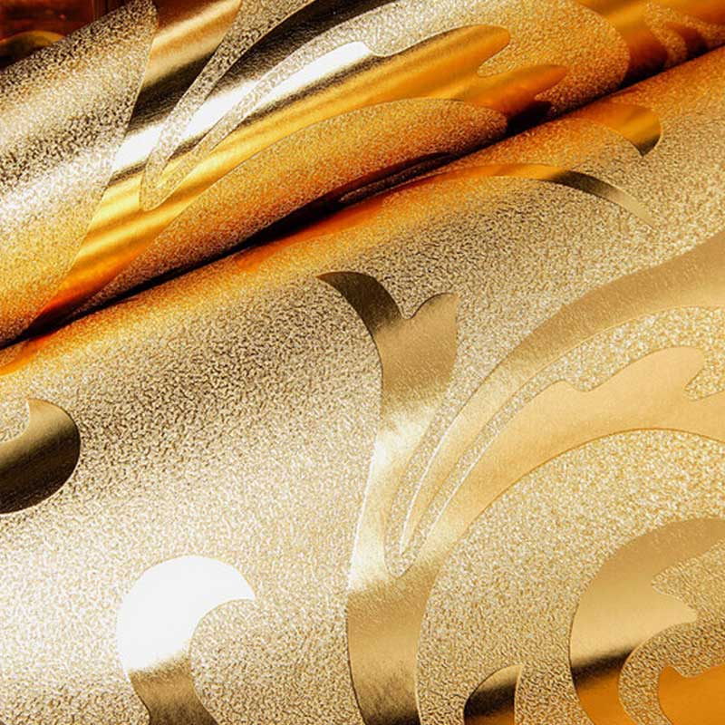 Classic Luxury Damask Gold Foil Silver Wall Paper Glitter